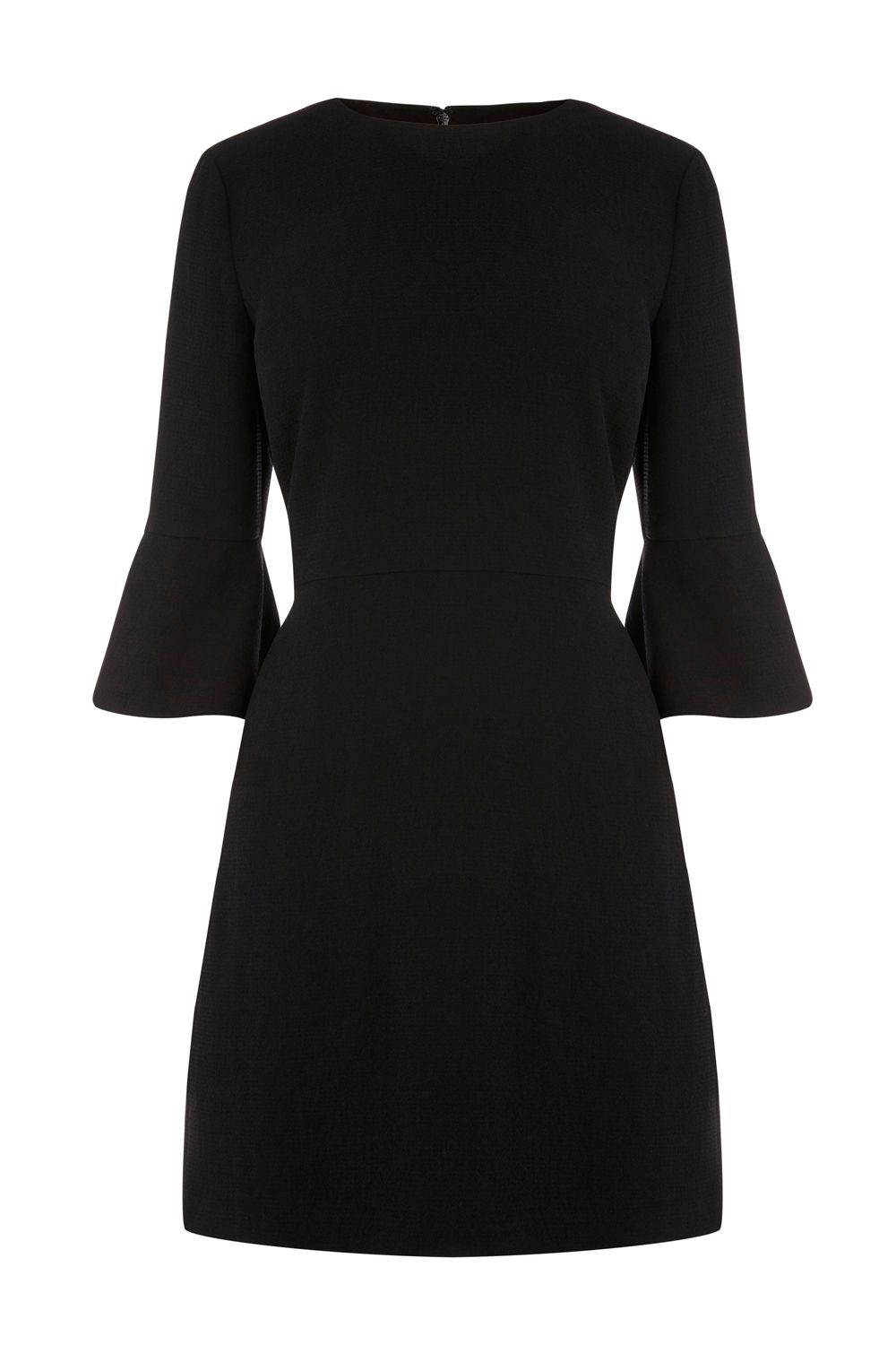 Warehouse Flute Sleeve Dress, Black