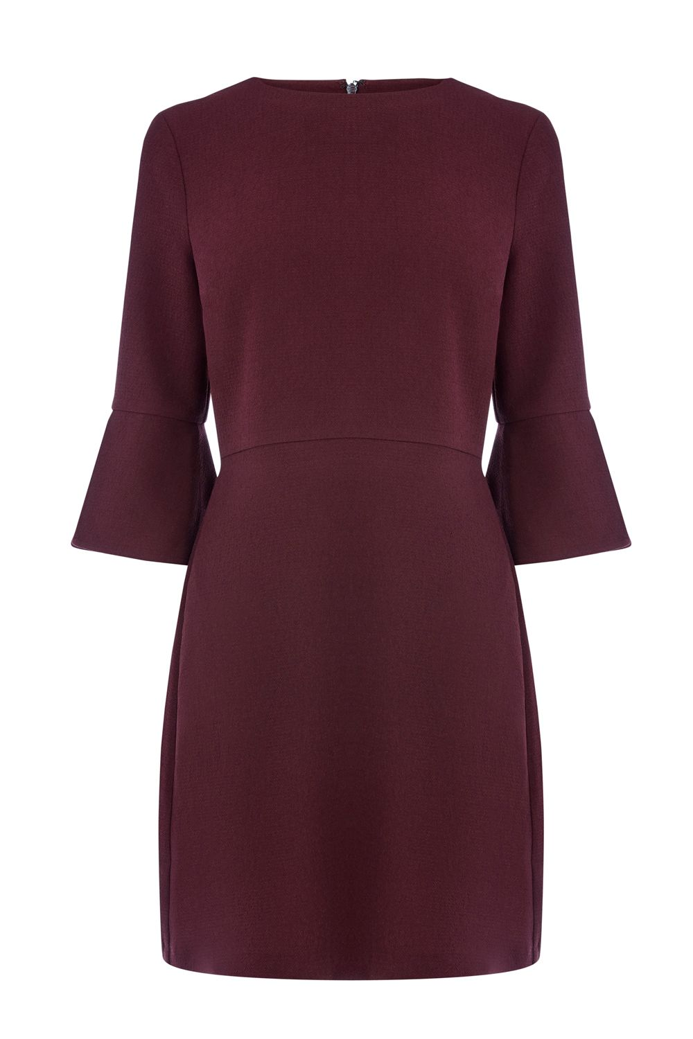 Warehouse Flute Sleeve Dress, Plum