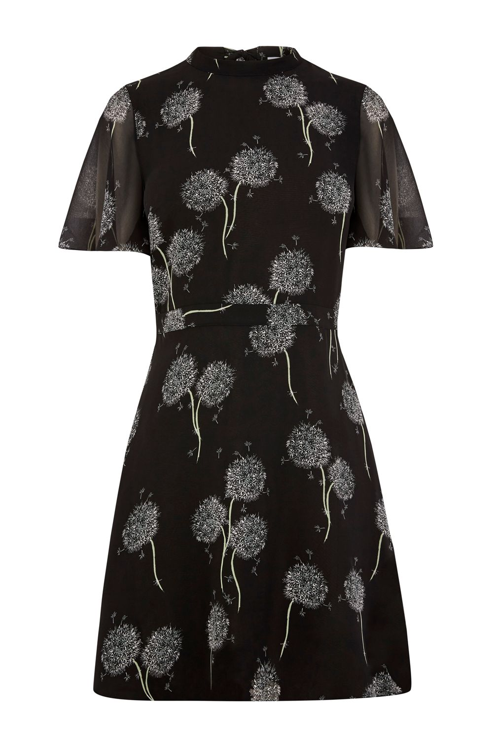 Warehouse Dandelion Print Dress, Black