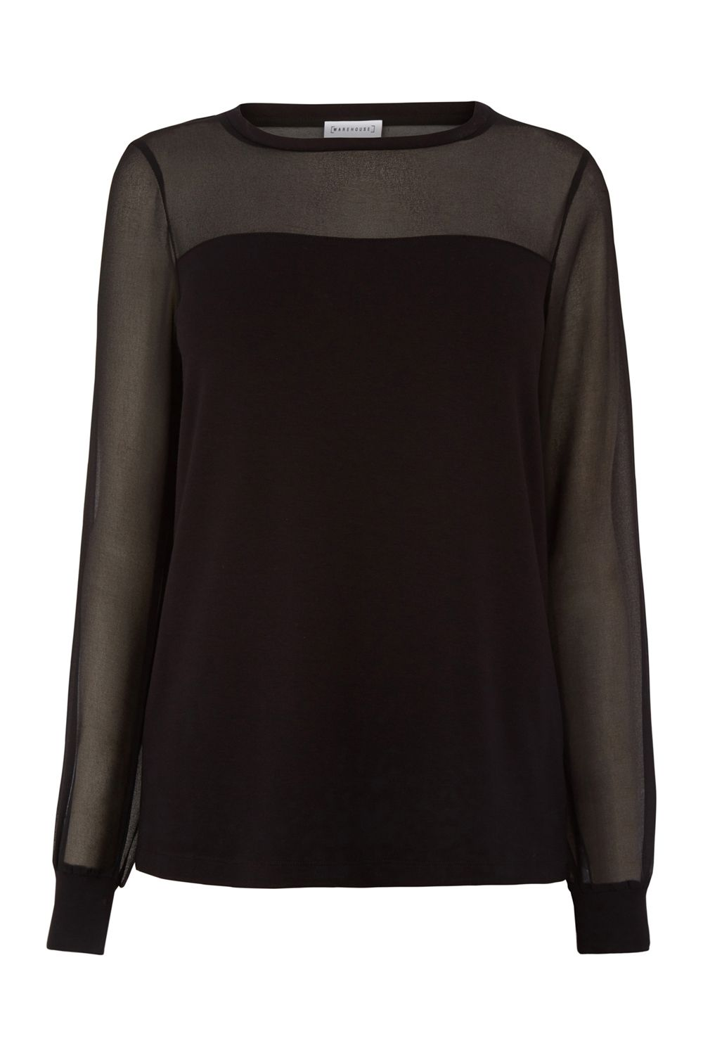 Warehouse Sheer Sleeve Woven Mix Top, Black