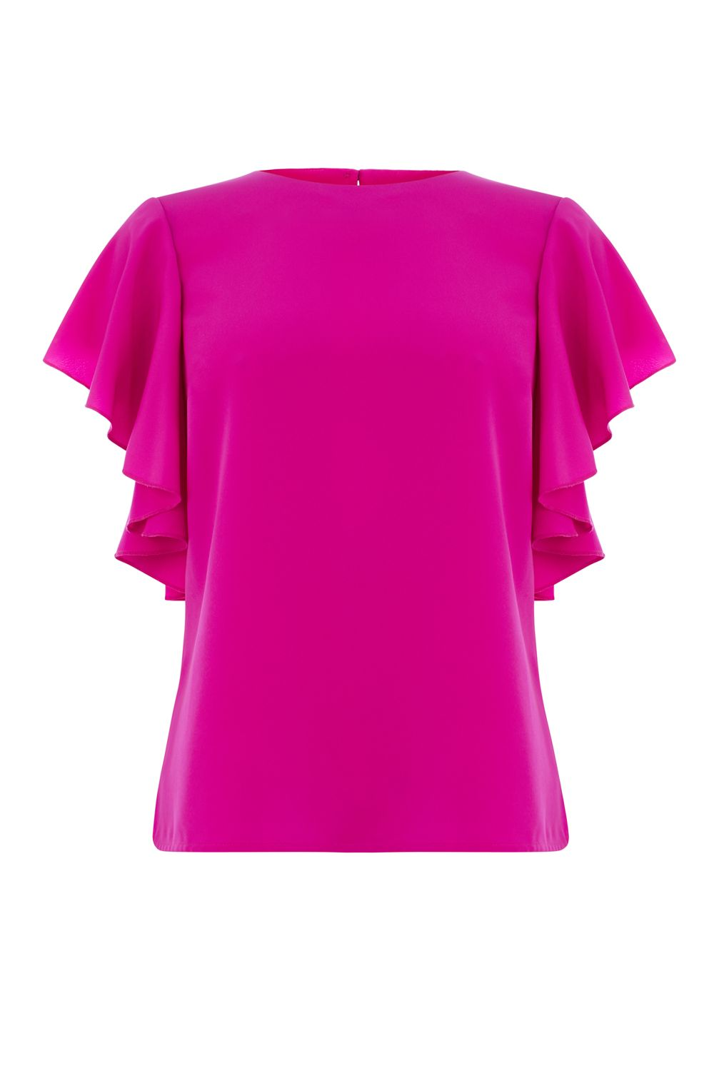 Warehouse Ruffle Top, Hot Pink