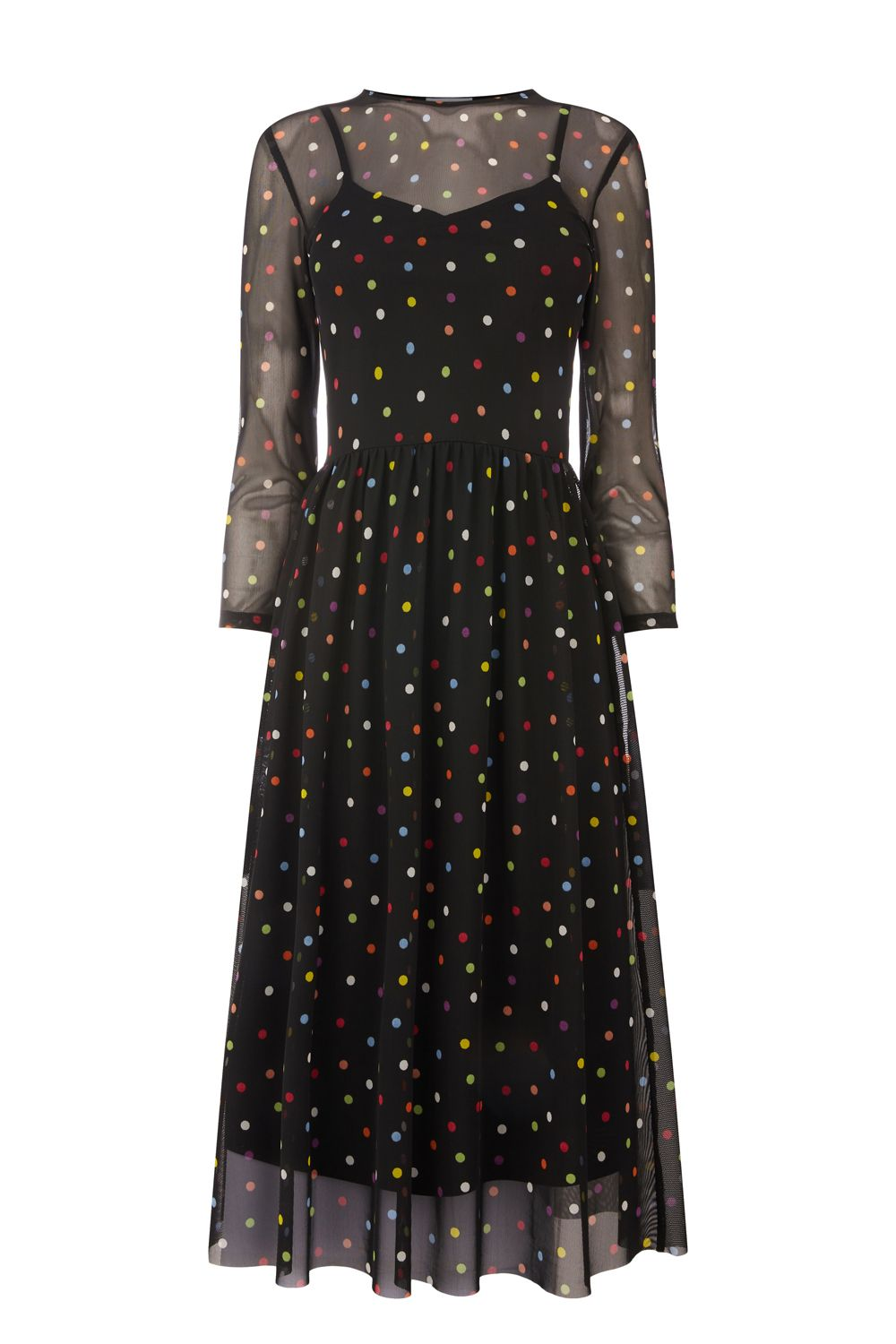 Warehouse Rainbow Spot Mesh Dress, Black
