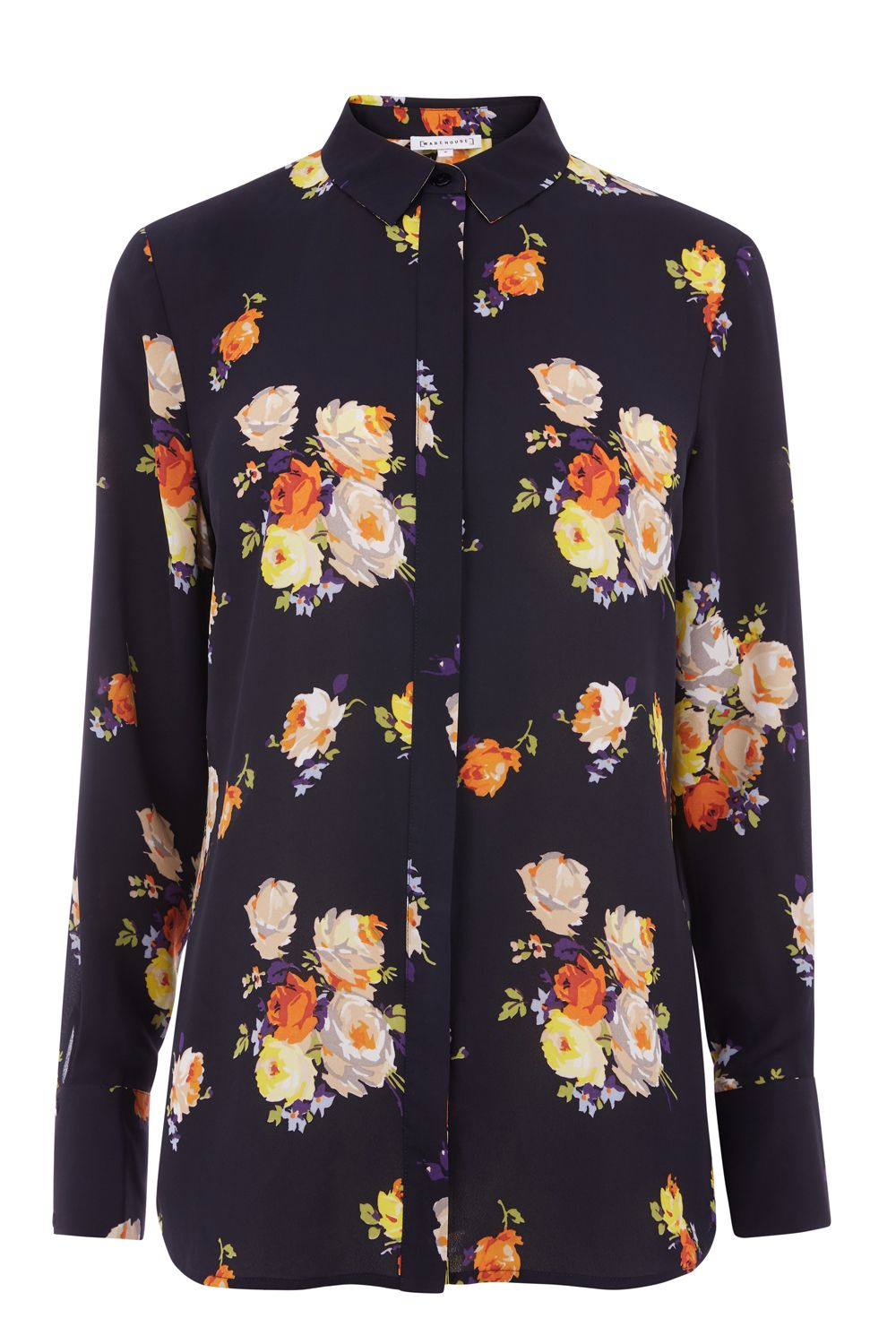 Warehouse Victoria Floral Shirt, Blue