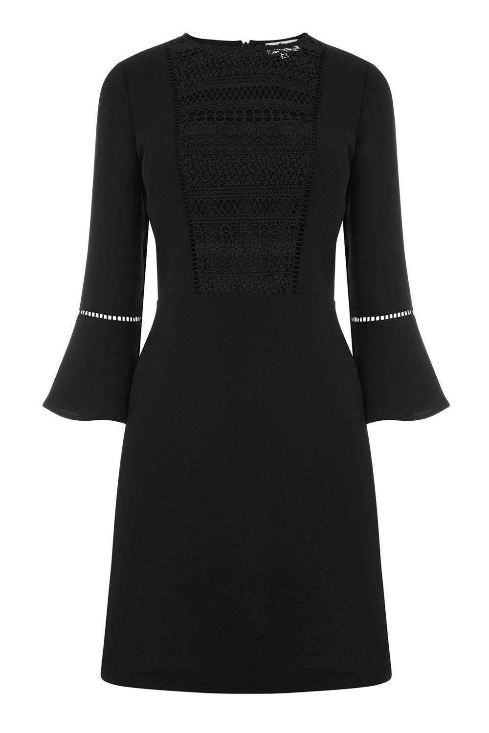 Warehouse Lace Front Fluted Sleeve Dress, Black