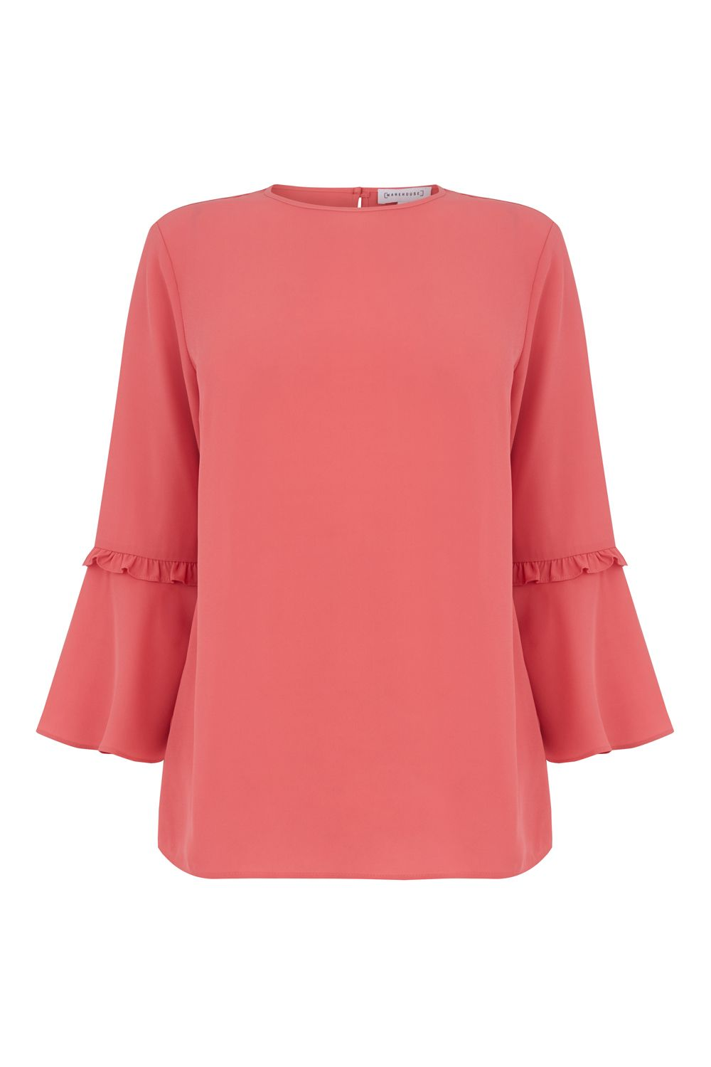 Warehouse Double Frill Top, Dark Pink