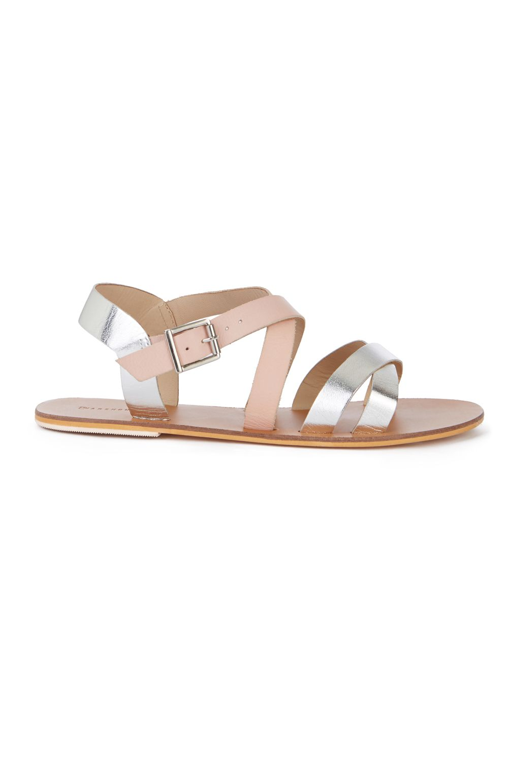 Warehouse Contrast Toe Post Sandal, Silver Silverlic