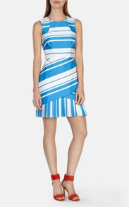 Karen Millen Panneled shift dress with pleated front skirt