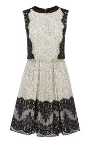 Karen Millen Layered effect lace full skirted dress
