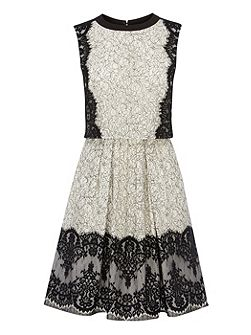 Layered effect lace full skirted dress