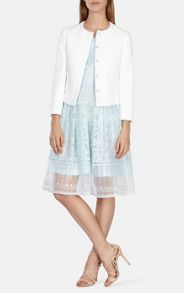 Karen Millen Cotton Pique Tailoring Jacket