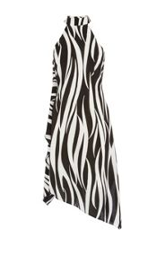 Zebra print asymmetric midi dress