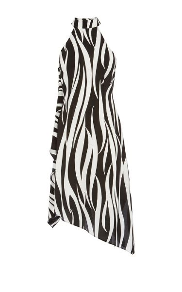 Karen Millen Zebra print asymmetric midi dress