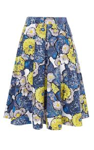 Daisy Floral Print On Cotton Skirt