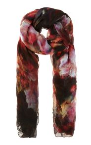 Blurred Floral Print Scarf