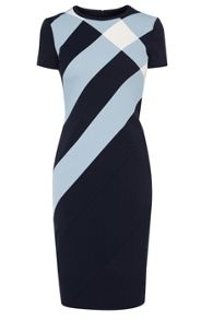 Tailored panel check dress