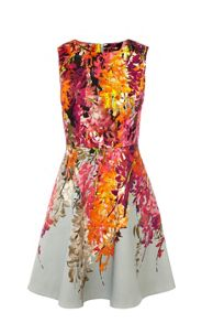 Placed Oriental Print Dress