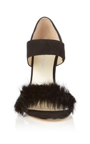 Fur trim sandal