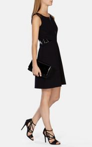 Full-Skirted Faux-Leather Detail Dress