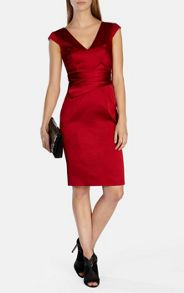 Karen Millen Red Signature Satin Dress