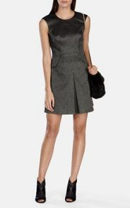 Metallic textured jacquard full-skirted dress