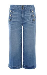 Karen Millen Button-Detail Denim Culotte