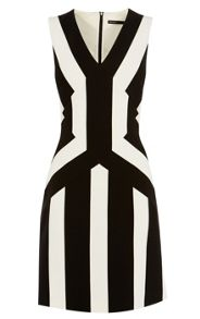 Karen Millen Pieced Block Stripe Dress