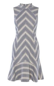 Karen Millen Fit and Flare Tweed Stripe Dress