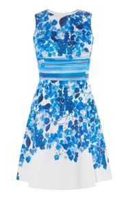 Karen Millen Stripe And Flower Print Dress