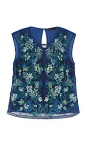 Karen Millen Tropical-Embroidery Lace Top