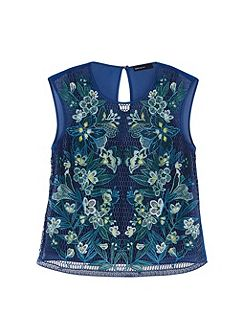Tropical-Embroidery Lace Top
