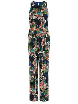Tropical Floral-Print Jumpsuit