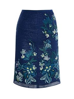 Tropical Embroidery Lace Skirt