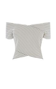 Karen Millen Striped Off-The-Shoulder Top