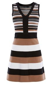 Karen Millen Striped Bandage-Knit Dress