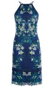 Karen Millen Tropical-Embroidery Lace Dress