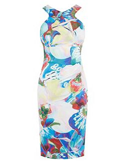 Orchid-Print Pencil Dress