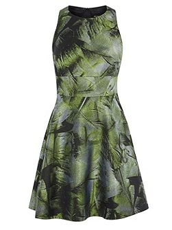 Palm-Leaf Jacquard Dress