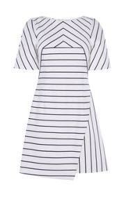 Karen Millen Cotton Asymmetric Striped Dress