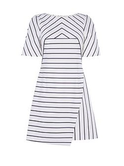 Cotton Asymmetric Striped Dress
