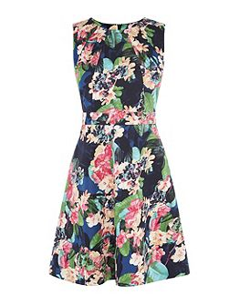 Tropical Floral-Print Cotton Dress