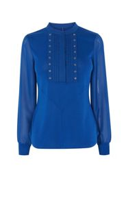 Karen Millen Sheer Sleeve Studded Shirt