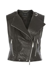 Karen Millen Leather Biker Gilet