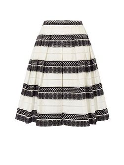 Devore Stripe Midi Skirt