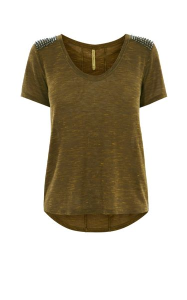 Karen Millen Stud Shoulder T-Shirt