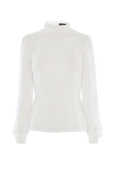 Karen Millen High-Neck Chevron Blouse