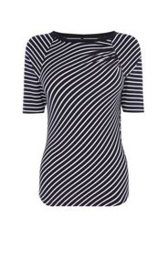 Karen Millen Gathered Shoulder Stripe Top