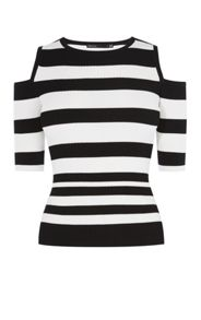 Karen Millen Cold-Shoulder Stripe Top