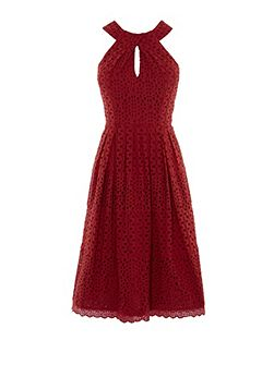 Knot-Neckline Broderie Dress