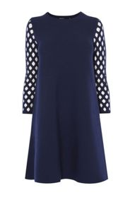 Karen Millen Lattice-Sleeve Dress