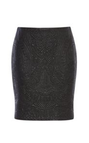 Karen Millen Faux-Leather Embroidered Skirt